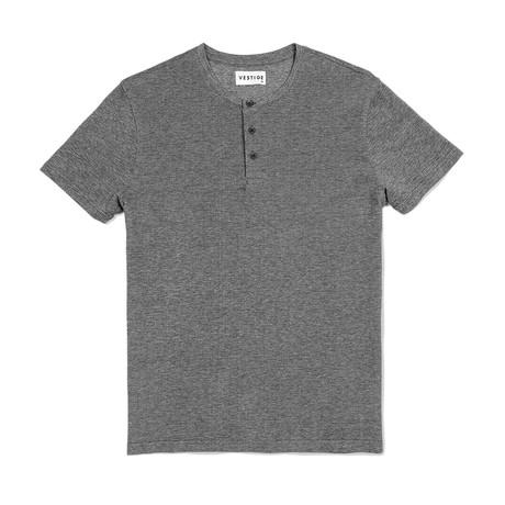 Pique Henley Short Sleeve Henley // Gray (S)