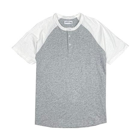 Color Block Short Sleeve Henley // Light Gray (S)