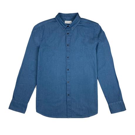 Denim Shirt Long Sleeve Button Down Shirt // Blue (S)