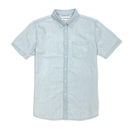 Denim Shirt Short Sleeve Button Down Shirt // Light Blue (S)