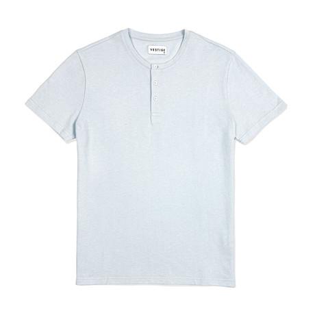 Pique Henley Short Sleeve // Light Blue (S)
