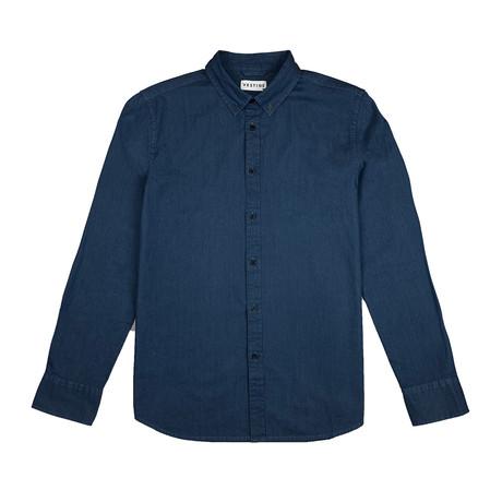 Denim Shirt Long Sleeve Button Down Shirt // Denim Blue (S)