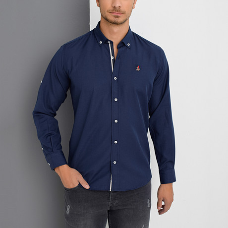 Louis Button-Down Shirt // Dark Blue (Small)