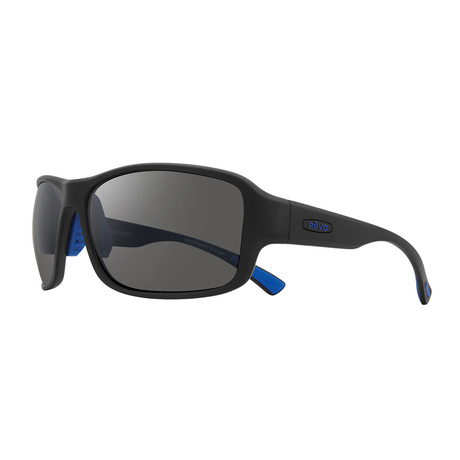 Border Polarized Sunglasses (Matte Black Frame + Blue Lens)