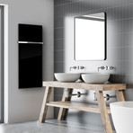 """Signature Series Glass Heater + Towel Rack // Black (48""""L x 16""""W + 16"""" Rack)"""