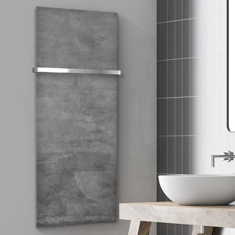 "Signature Series Glass Heater + Towel Rack // Industrial Concrete (48""L x 16""W + 16"" Rack)"