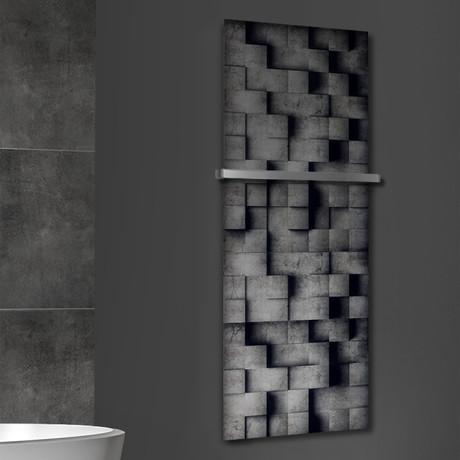 """Signature Series Glass Heater + Towel Rack // 3D Concrete (48""""L x 16""""W + 16"""" Rack)"""