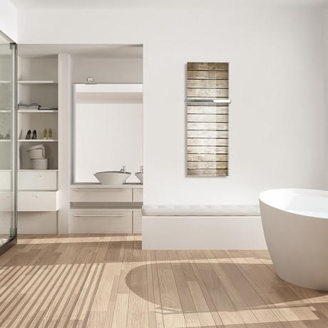 "Signature Series Glass Heater + Towel Rack // Canadian Wood Floor (48""L x 16""W + 16"" Rack)"