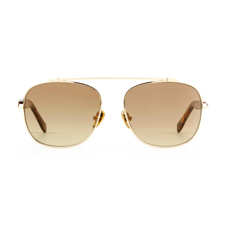 Unisex Malcolm No Middle 12 Sunglasses // Gold + Brown Tint