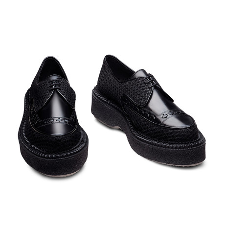 Elias Leather + Fishnet Creeper // Black (Euro: 39)