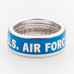 Powder Coated Air Force Silver Coin Ring // Blue (Size 8)