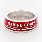 Powder Coated Marines Silver Coin Ring // Red (Size 8)