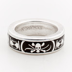 Powder Coated Memento Mori Coin Ring // Black (Size 8)