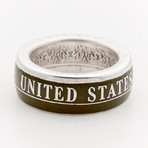 Powder Coated Army Silver Coin Ring // Green (Size 8)