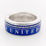 Powder Coated Navy Silver Coin Ring // Blue (Size 8)