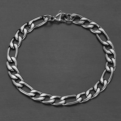 Polished Figaro Chain Bracelet (Black)