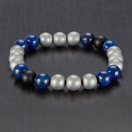 Sodalite + Onyx + Hematite Stretch Bracelet // Blue + Black + Gray