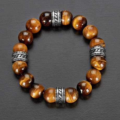 Stainless Steel + Natural Stone Beaded Bracelet // Brown + Silver