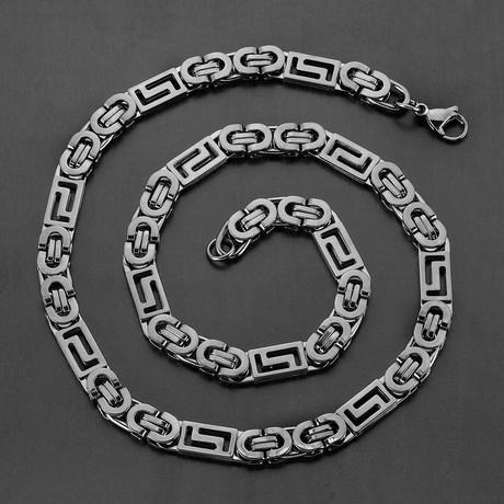 Greek Key Flat Byzantine Chain Necklace (Black)