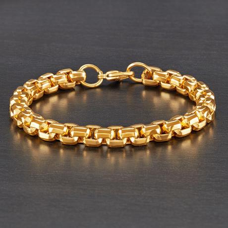 Beveled Box Chain Bracelet (Gold)