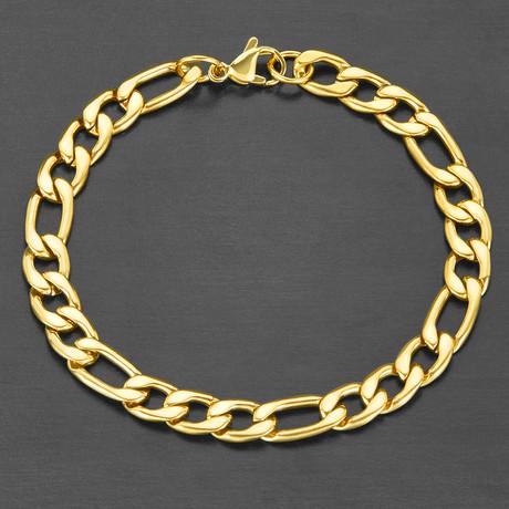 Polished Figaro Chain Bracelet (Gold)