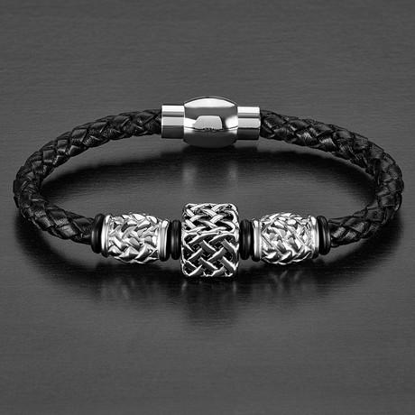 West Coast Jewelry // Lattice Square Beaded + Braided Leather Bracelet // Black + Silver