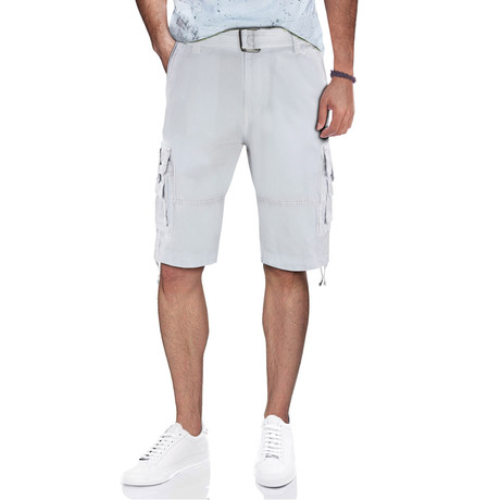 BeLighted Cargo Shorts + Twill Piping // White (30)