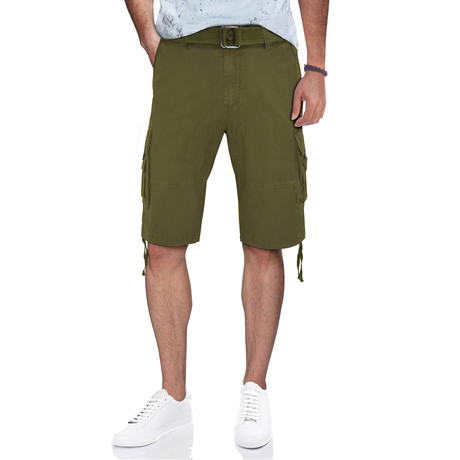 BeLighted Cargo Shorts + Twill Piping // Olive (30)
