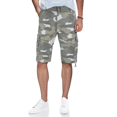 BeLighted Cargo Shorts + Twill Piping // White Camo (30)
