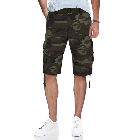 BeLighted Cargo Shorts + Twill Piping // Olive Camo (30)