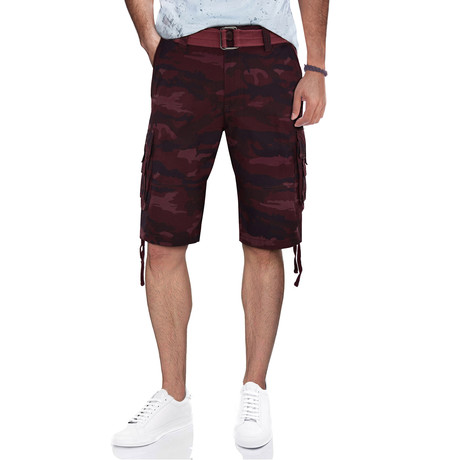 BeLighted Cargo Shorts + Twill Piping // Burgundy Camo (30)