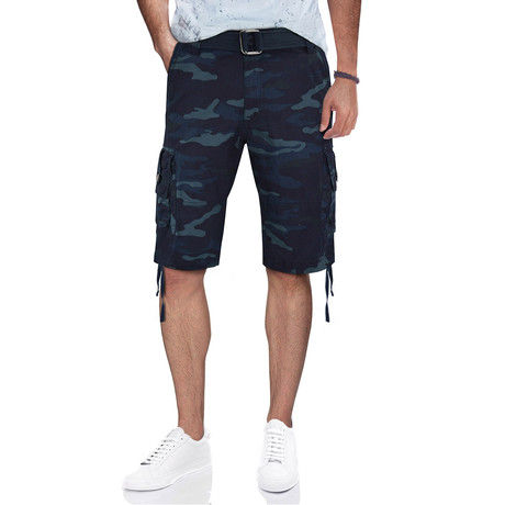 BeLighted Cargo Shorts + Twill Piping // Navy Camo (30)
