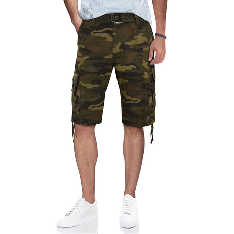BeLighted Cargo Shorts + Twill Piping // Brown Camo (30)