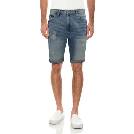 Roll Cuff Denim Shorts // Acid Blue (30)