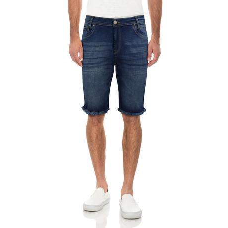 Frayed Denim Shorts // Medium Blue (30)