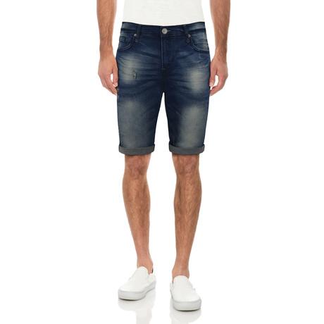 Roll Cuff Denim Shorts // Dark Blue (30)
