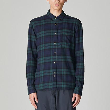 Cedar Brushed Flannel Check Shirt // Blue + Green (S)