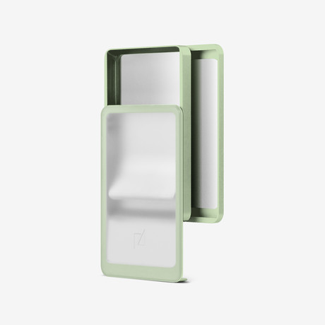 Zenlet 2+ Wallet // RFID Blocking Tray + Horizontal Compartment // Transparent + Sage Green