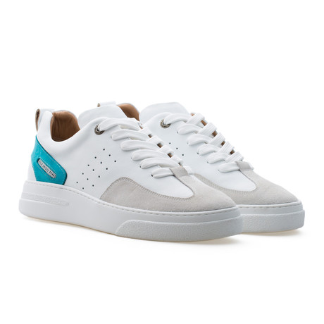 Woke Low Top Sneaker // Turquoise + White + Light Cream (Euro: 39)