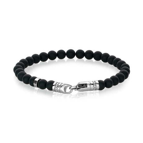 "Beaded Bracelet // Matte Black Onyx // 8.2""L"