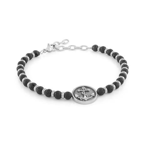 "Anchor Design Bracelet // Black Lava // 8.2""L"