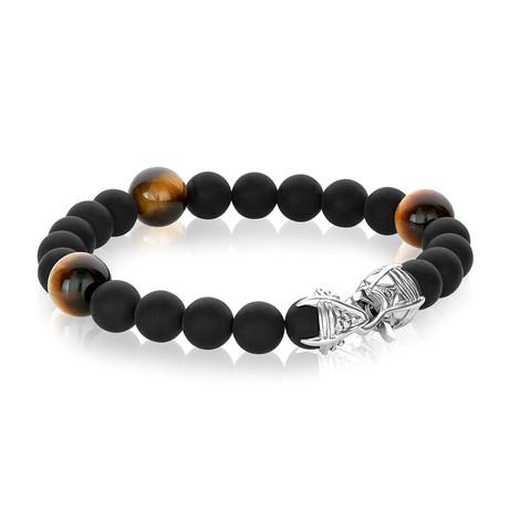 """Beaded Bracelet // Matte Onyx + Yellow Tiger Eye (7.7""""L)"""