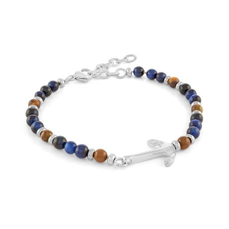 Anchor Design Bracelet // Silver + Blue + Brown