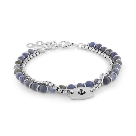 Double Row Anchor Bracelet // Silver + Blue