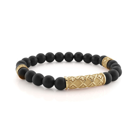 "Cross Design Bracelet // Gold + Matte Onyx // 8.2""L"