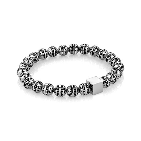 "Design Beaded Stretch Bracelet // Stainless Steel (7.7""L)"