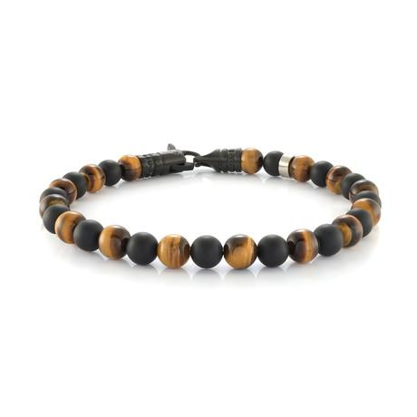 "Beaded Bracelet // Black Onyx + Brown Tiger Eye (7.7""L)"