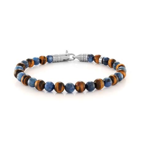 "Beaded Bracelet // Blue + Brown Tiger Eye (7.7""L)"