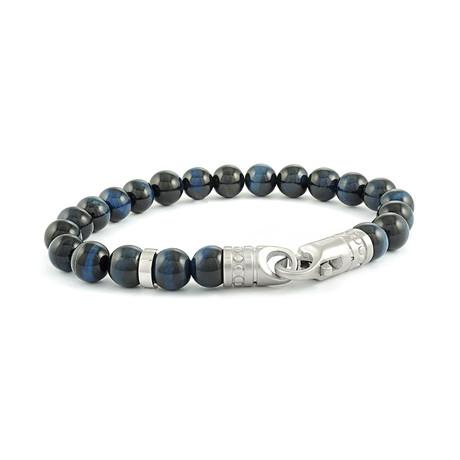 "Beaded Bracelet // Blue Tiger Eye // 8.2""L"