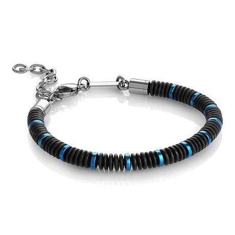 "Beaded Bracelet // Blue + Black // 8.2""L"